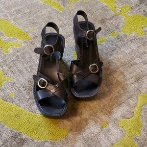 Black Nine West Platform Wegde Sandals